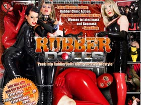 Welcome to Rubber Dolls! Latex women in gym, rubber clinic action, strapon and dildo fucking, women in latex mask and gas mask, spanking