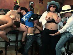 Massive tits chubby girls gang group orgy