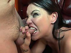 Brunette hottie punishes a fat dick