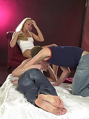 Juicy bisex guys licking cock while probing pussy