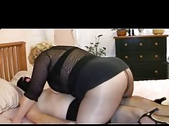 Pantyhose Granny Ties Up Tranny Cock
