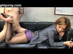 Asian In Black Pantyhose Uses Her Legs