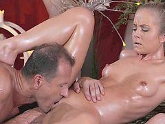Massage Rooms Petit blonde gets hard fucking