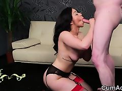 Spicy peach gets jizz shot on her face swallowing all the ji