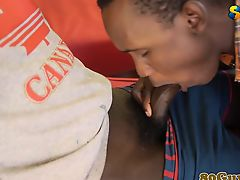 Ethnic africans teens passionately sucking